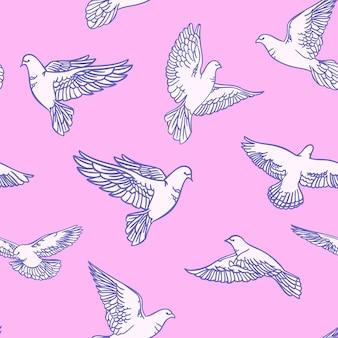 Бесшовный фон с нарисованными голубями на розовом фоне. векторная иллюстрация