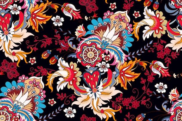 페이즐리와 레이스 요소가 있는 원활한 패턴