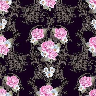 빅토리아 스타일의 페이즐리와 장미가 있는 매끄러운 패턴