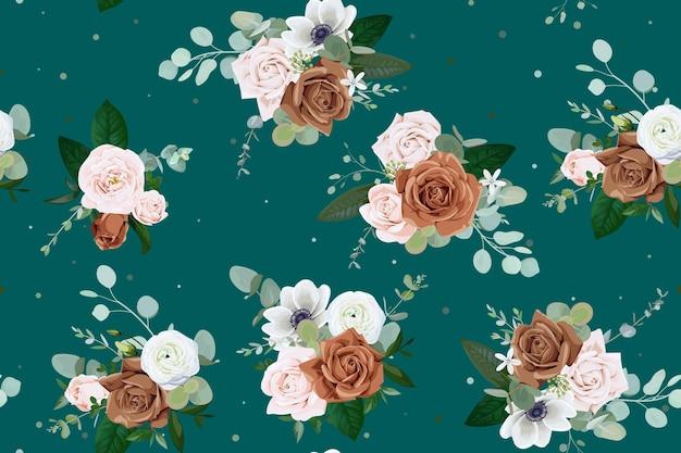 淡いピンクと茶色のバラとのシームレスなパターン