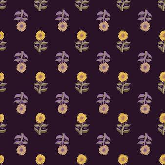 Бесшовный фон с бледными элементами подсолнечника. винтажный стиль векторные иллюстрации для сезонных текстильных принтов, ткани, баннеров, фонов и обоев.