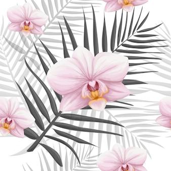 ヤシの葉とピンクの蘭のシームレスパターン