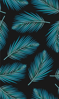 Seamless pattern with palms leaf