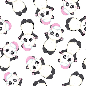 Seamless pattern with panda bear with santa claus hat