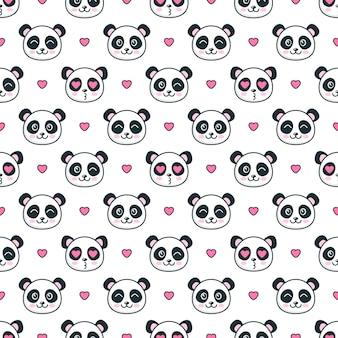 Бесшовный фон с пандами и сердечками