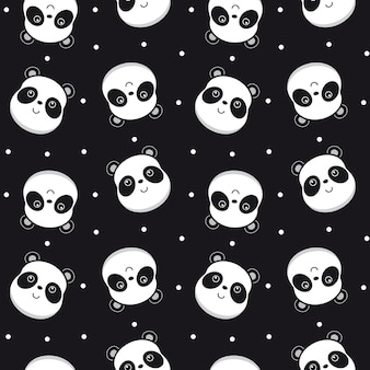 Seamless pattern with panda face