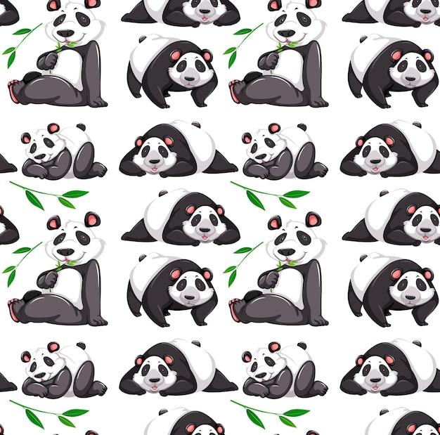 Modello senza cuciture con panda in molte pose su sfondo bianco