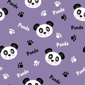 Бесшовный фон с пандами и отпечатками лап