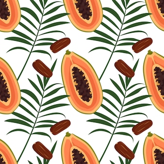 パパイヤの果実、ナツメヤシ、ヤシの葉とのシームレスなパターン