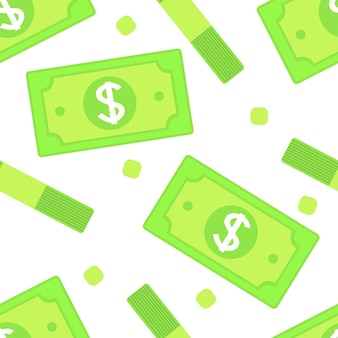Бесшовный фон с бумажными деньгами банкнот.