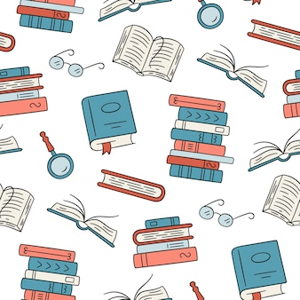 Seamless pattern with paper books home library book stacks glasses in doodle style