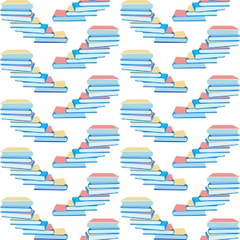 Seamless pattern with paper books stack design