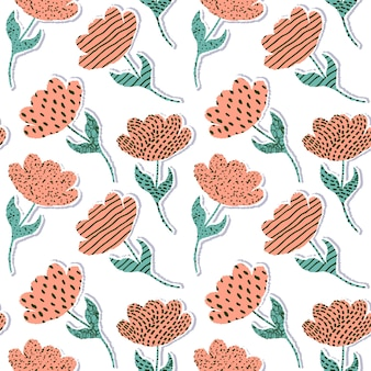 Seamless pattern with paper tulips