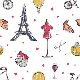 파리와 프랑스 요소와 원활한 패턴