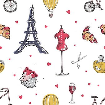 Seamless pattern with paris and france elements