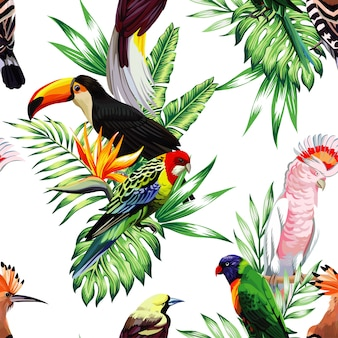 Seamless pattern with parrot macaw and toucan on branch