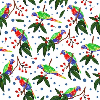 Seamless pattern with parrot.