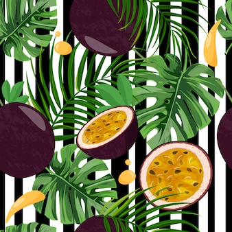 Seamless pattern with passion fruit and tropical leaves.