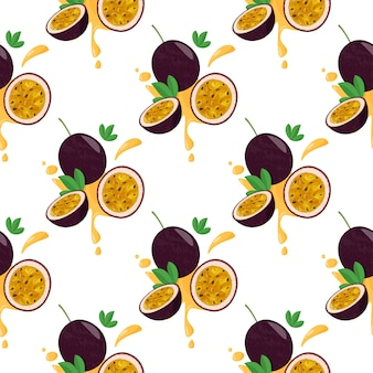 Seamless pattern with passion fruits