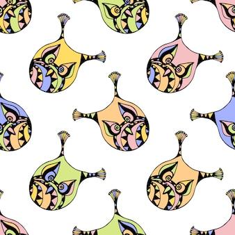 パステルカラーのフクロウとシームレスなパターン。子供のための背景。ギフトパック、ラップ、パターンファブリック、壁紙のデザインのためのベクトル図