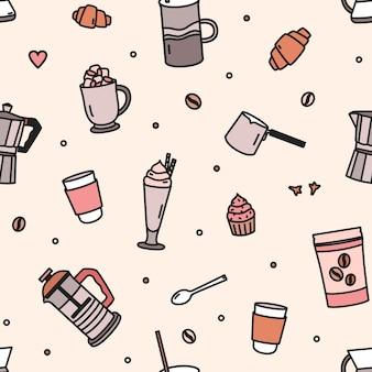 Бесшовный фон с выпечкой, молочным коктейлем, инструментами и посудой для заваривания кофе
