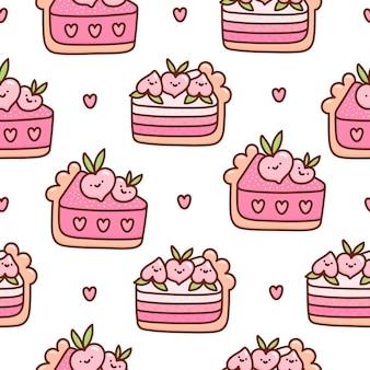 Seamless pattern with peach cake