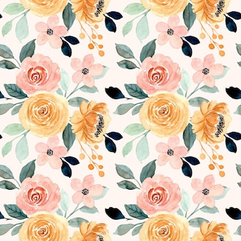 Seamless pattern with peach cream floral watercolor