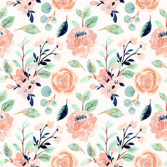 Seamless pattern with peach floral and green leaves watercolor