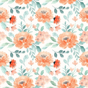 Seamless pattern with peach floral watercolor