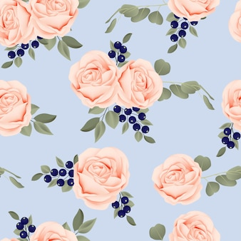 Seamless pattern with peach rose flower bouquet