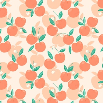 Seamless pattern with peaches or apricots, leaves and flowers. trendy handdrawn organic flat style. modern design, vector illustration