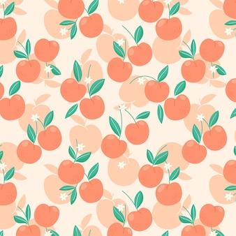 桃やアプリコット、葉や花とのシームレスなパターン。トレンディな手描きのオーガニックフラットスタイル。モダンなデザイン、ベクトルイラスト