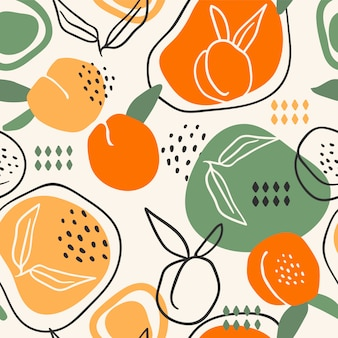 Бесшовный фон с персиками. модные рисованной текстуры.