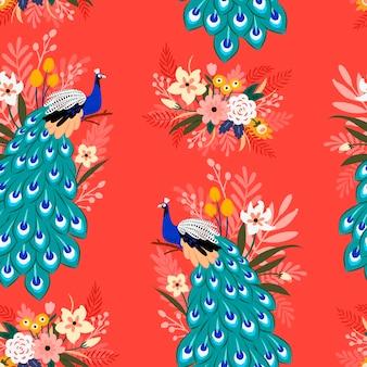 Бесшовный фон с павлином и цветами