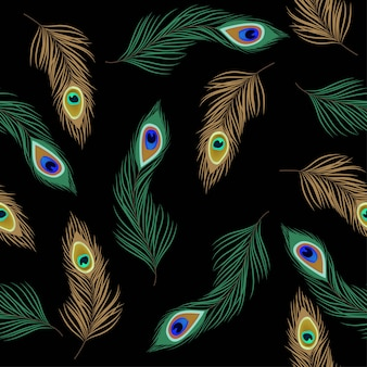 Seamless pattern with peacock feather