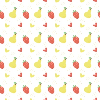 Seamless pattern with pear and strawberry on white