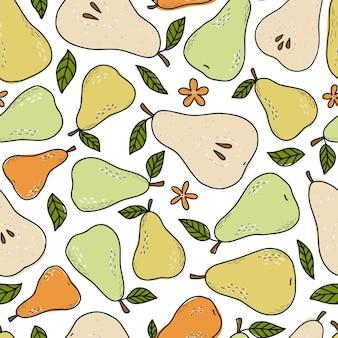 Бесшовный фон с грушами и листьями
