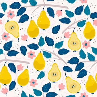 Seamless pattern with pears, flowers and branches.