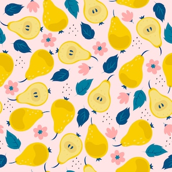 Seamless pattern with pears flowers and leaves