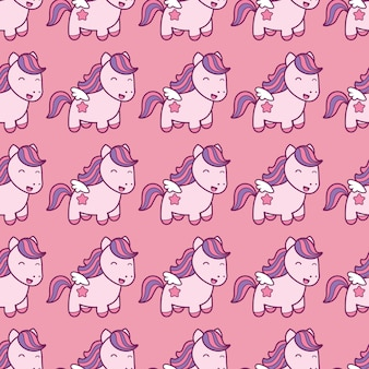 Seamless pattern with pegasus in kawaii japanese style isolated on pink background.