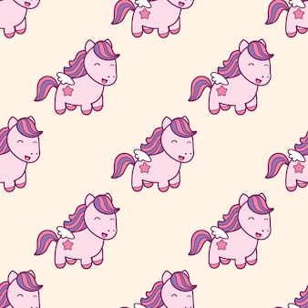 Seamless pattern with pegasus in kawaii japanese style