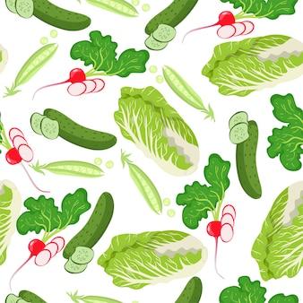 Seamless pattern with peking cabbage, radish, peas and cucumbers.