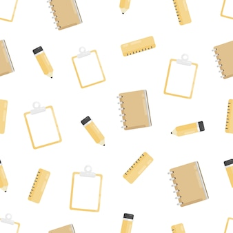 Seamless pattern with pencil, clipboard, notebook, ruler. education background.