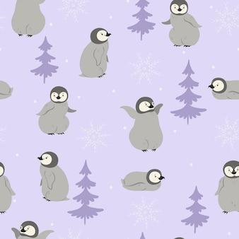 ペンギンと雪片とのシームレスなパターン。ベクトルグラフィックス。