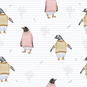 Seamless pattern with penguins and branches watercolor winter