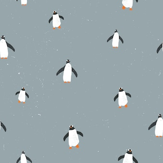 Seamless pattern with penguins and grunge texture.