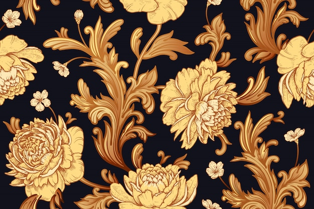 Seamless pattern with peonies and baroque decor elements.