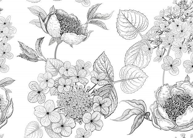 Seamless pattern with peonies and flowers hydrangea