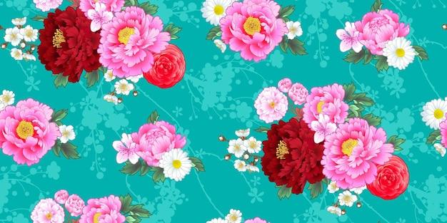 中国風の牡丹とのシームレスなパターン