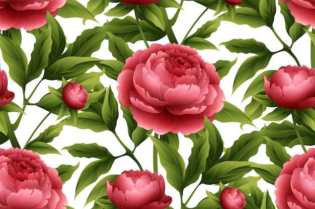 牡丹の花とのシームレスなパターン。